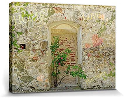 1art1 Muros - Muro De Un Jardín Romantico Cuadro, Lienzo Montado sobre Bastidor (40 x 40cm): Amazon.es: Hogar