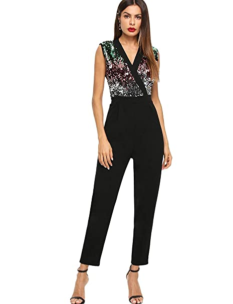 ed92833ae8d8 Amazon.com  Romwe Women s Stretchy Sparkle Sequin V Neck Sleeveless Ankle  Length Pants Cocktail Party Jumpsuit  Clothing