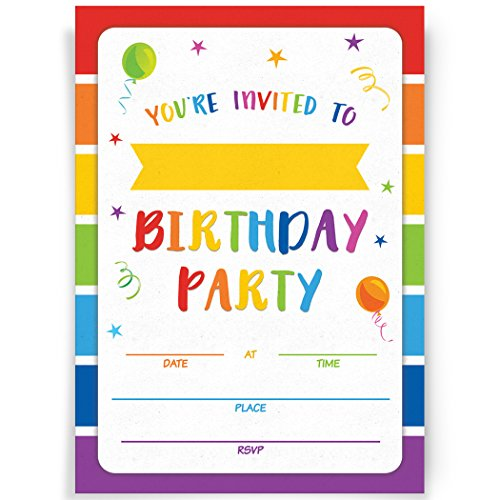 Party Invite (Birthday Party Invitations | 20 Invitations and Envelopes | Rainbow Party Invites, Ideas, and Supplies)