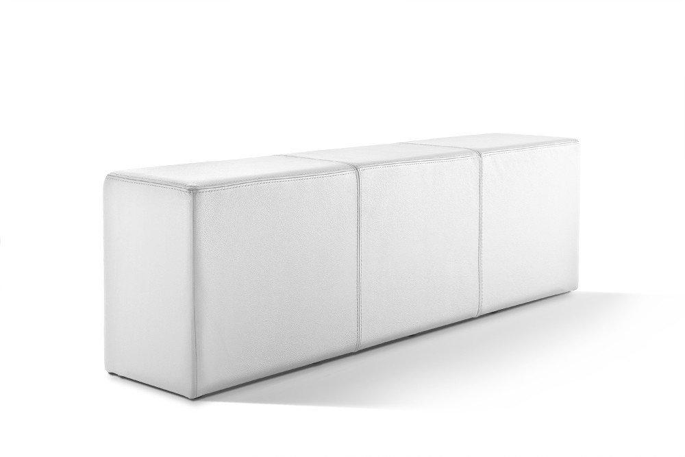 Pomp Bank, Sitzbank in Stuhlhöhe mit komfortabler Polsterung, B = 150 cm, T = 33 cm, H = 47,5 cm, echtes Leder, schneeweiß