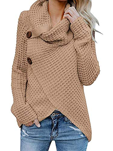 Shele Womens Turtleneck Sweater Warm Cable Knitted Loose Button Wrap Asymmetrical Pullover Tops (XL, Z-Brown)