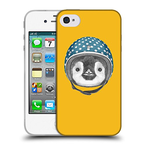 GoGoMobile Coque de Protection TPU Silicone Case pour // Q05320602 Casque pingouin ambre // Apple iPhone 4 4S 4G