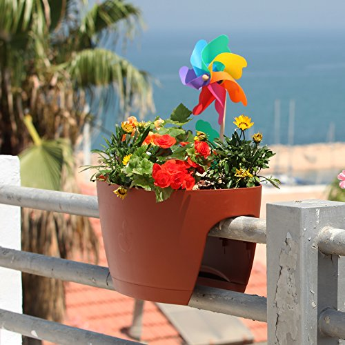 Greenbo XL Deck Rail Planter Box with Drainage trays, 24-Inch, Color terracotta - set of 2 by Greenbo