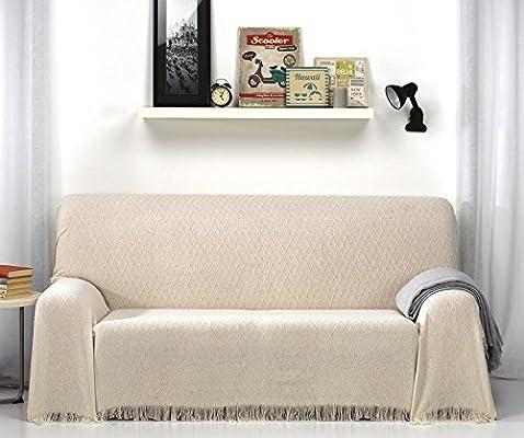 HIPERMANTA Colcha Foulard Multiusos Rombos para sofá y para Cama, Algodón-Poliéster, 230x260 cms. Crudo-Beige