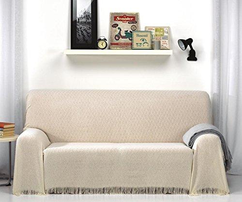 Colcha Foulard Multiusos rombos para sofá y para cama, Algodón-Poliéster, 230x260 cms. Visón