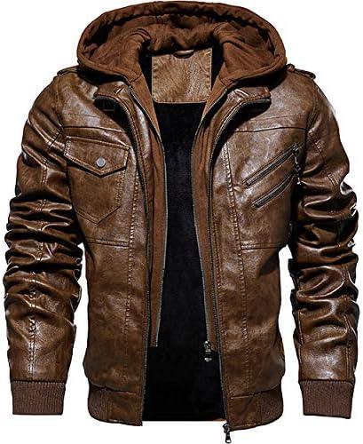 レザージャケット メンズ ミリタリー ライダースジャケット PU ジャンバー 防風 バイク ジャンバー 防寒アウター 革コート フード付 取り外し可能