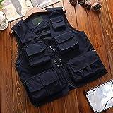 TOPUNDER Men Photography Outdoors Mesh Multi-Pocket Sleeveless Jackets Vest Waistcoat Navy
