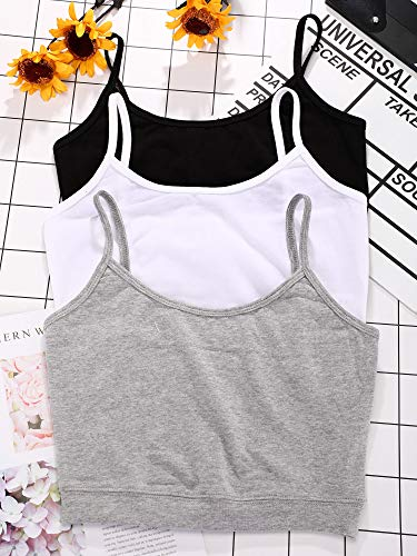 3 Pieces Spaghetti Strap Tank Adjustable Camisole Top Crop Tank Top for Sports Yoga Sleeping