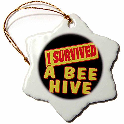 3dRose orn_117573_1 I Survived a Beehive Survial Pride and Humor Design Snowflake Ornament, fun bee ornaments for christmas, Porcelain, 3-Inch
