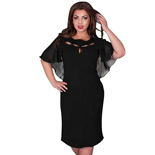 d87f1a650b3 Amazon.com  Minisoya Women Cape Dress Plus Size Summer Beach Casual Chiffon  Loose Short Sleeve Evening Evening Party Dress  Clothing