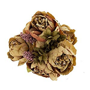 EZFLOWERY Artificial Peony Silk Flowers Arrangement Bouquet for Wedding Centerpiece Room Party Home Decoration, Elegant Vintage, Perfect for Spring and Summer Party and Occasions 76