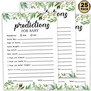 25 Greenery Advice and Prediction Cards for Baby Shower Game, New Mom and Dad Card or Mommy and Daddy To Be for Girl or Boy Babies, New Parent, Fun Gender Neutral Shower Party Favors