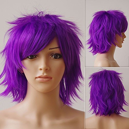 Unisex Short Full Wig Oblique Curly Hair Tail Bangs Fluffy for Sexy Women Anime Cosplay Costume Party Multiple colors (purple)… -