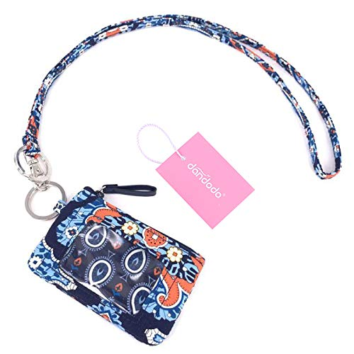 dandodo Card Holder ID Case Badge Neck Strap Lanyard (006Navy)