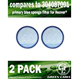 2 pack For Hoover Primary Blue Sponge Filter for WindTunnel Max Multi-Cyclonic Bagless Upright Vacuums (compares to 304087001). Washable. Genuine Green Label product.