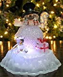 Snowman Figurine LED Acrylic Snowman Color Changing Lights