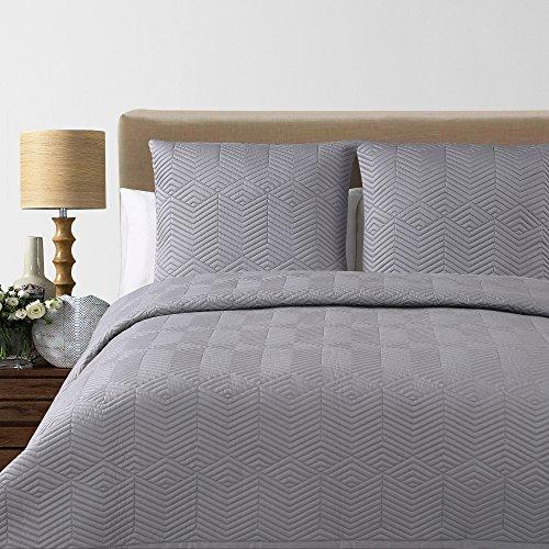 Echelon Home Monterey Quilted Cotton Blanket, Queen, Grey