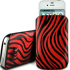 RED ZEBRA PREMIUM PU LEATHER PULL FLIP TAB CASE COVER POUCH FOR NOKIA X1-00 BY N4U ACCESSORIES