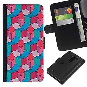 EJOY---La carpeta del tirón la caja de cuero de alta calidad de la PU Caso protector / LG G3 / --Trullo Rosa Azul Rojo Modelo abstracto