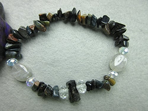 Genuine Black Tourmaline, Labradorite, Blue/Gold Tigers Eye and Tigers Iron Healing Bracelet