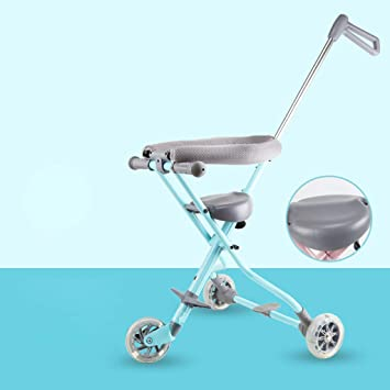 2019 3 WHEELS ALUMINIUM TRICYCLE RIDE ON TOY BABY PRAM STOLLER JOGGER CAR {Blue}