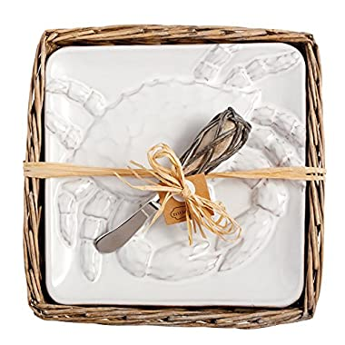 Mud Pie Crab Cheese Plate Set In Willow Holder, White