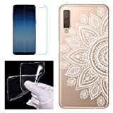 Clear Case for Samsung Galaxy A7 2018 (A750) with Screen Protector,QFFUN Ultra Thin Slim Fit Soft Transparent Silicone Phone Case Crystal TPU Bumper Shell Shockproof Scratch Resistant Protective Cover - Sunflower