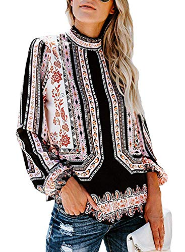 (Happy Sailed Womens African Printed Blouses 2019 Smock Neck Long Sleeve Tops Shirts White X-Large)