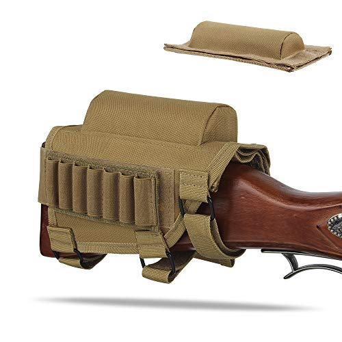 AIRSSON Rifle Buttstock Adjustable Tactical Cheek Rest Shell Holder Pouch with Ammo Carrier for 300 Winmag (Tan) ()