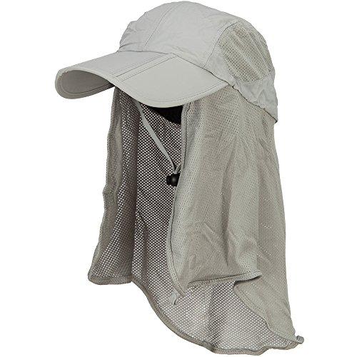 Juniper Taslon UV Folding Bill Cap with Mesh Flap - Grey OSFM