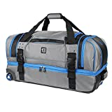 Streamline 30in Soft Rolling Duffel Bag, Retractable Pull Handle, Split Level Storage, Grey