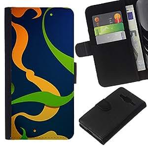 Planetar® Modelo colorido cuero carpeta tirón caso cubierta piel Holster Funda protección Para Samsung Galaxy Core Prime / SM-G360 ( Orange Green Lines Swirl Abstract Clean )
