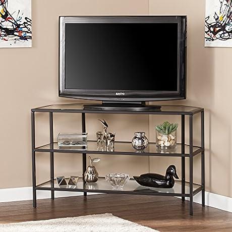 Kendrick Metal Glass Corner Optional TV Stand Matte Black 39 W X 19 25 D X 23 75 H