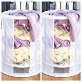 Set of 2 Auto Lift Laundry Hampers ~ Easy Use Clothes Hamper