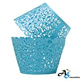 A&S Creavention Vine Cupcake Holders Filigree Vine Designed Decor Wrapper Wraps Cupcake Muffin Paper Holders - 50pcs (50, Light Blue)