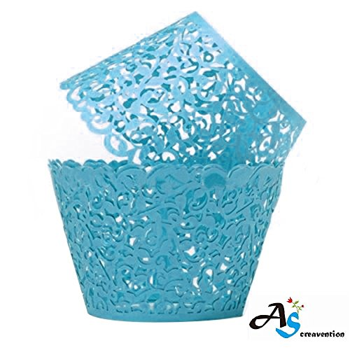 A&S Creavention Vine Cupcake Holders Filigree Vine Designed Decor Wrapper Wraps Cupcake Muffin Paper Holders - 50pcs (50, Light Blue)