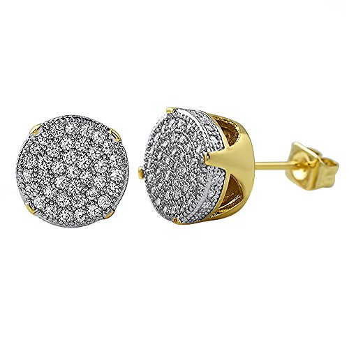 Gold Large Micro Pave Circle Stud Look CZ Bling (Mens Iced Out Bling Earrings)