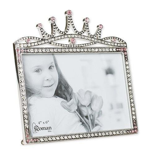 Princess Crown Rhinestone Encrusted 6 x 5.5 inch Zinc Alloy Table Top Picture -