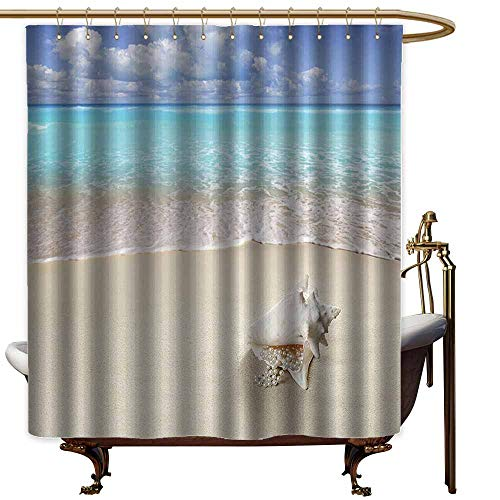 Shower Curtains Burgundy and White Seashells Decor Collection,Beach Sand Pearl Necklace Shell Summer Holiday Horizon Caribbean Tropical Coast Image,Blue Ivory,W48 x L72,Shower Curtain for Girls -