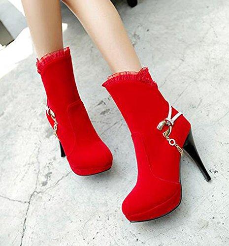 CHFSO Womens Stylish Stiletto Rhintstones Charms Round Toe High Heel Platform Wedding Boots Red LMnWBv