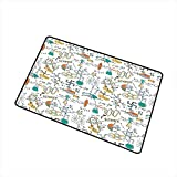 RelaxBear Doodle Front Door mat Carpet Science Lab Objects Education Themed Drawing Scientific Formulas Biology Chemistry Machine Washable Door mat W31.5 x L47.2 Inch Multicolor