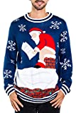 Tipsy Elves Men's Santa Pooping Ugly Christmas Sweater - Funny Santa Xmas Sweater: X-Large Blue
