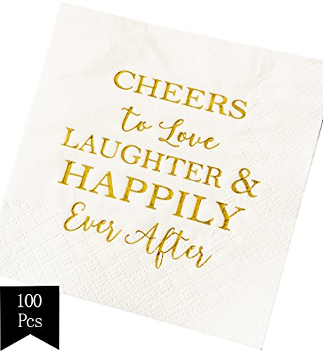 Crisky 100 Pcs Bridal Shower Napkins Disposable Cocktail Napkins 3-Ply Gold Foil Text Beverage Napkins for Engagement Party Decorations & Wedding Shower -