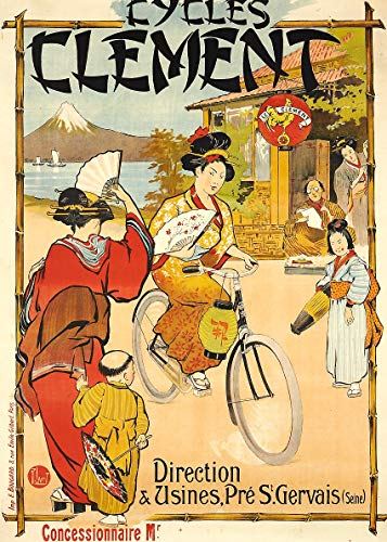 (Cycles Clement Retro Cycling Bike ads Poster Bedroom Art Print Wall Decor Decorative Items)