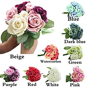 FZZ698 9 Heads Artificial Silk Fake Flowers Bridal Wedding Bouquet for Home Garden Party Floral Decor Diy Home and Kitchen 5