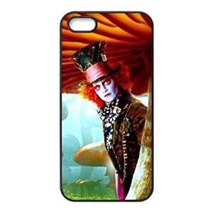 Alice In Wonderland 022 funda iPhone 5 5S caja funda del teléfono celular del teléfono celular negro cubierta de la caja funda EOKXLLNCD21536