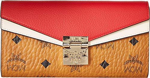 MCM Womens Patricia Visetos Wallet on a Chain Cognac/Red One Size