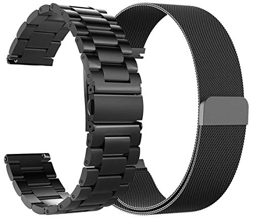 (for Fossil Gen 4 Q Explorist HR Bands 22mm Stainless Steel Band + Milanese Loop Mesh Replacement Bracelet Metal Strap for Fossil Gen 4 Q Explorist HR Smartwatch (2Pack-Black))