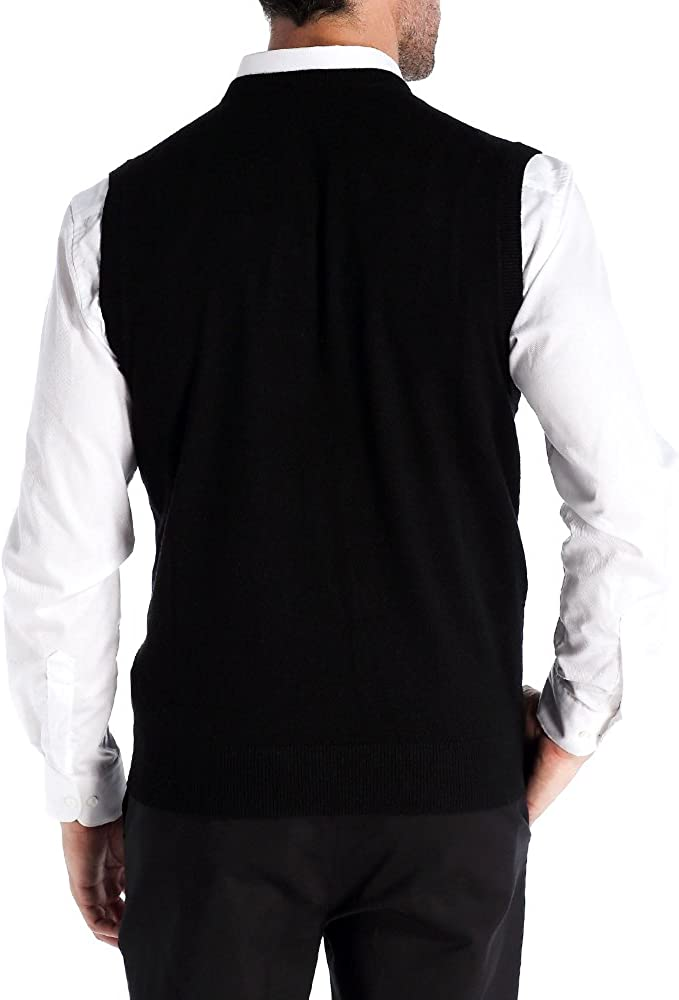 Kallspin Men/'s Cashmere Wool Blend V-Neck Knitted Gilets Relaxed Fit Sleeveless Jumpers Vest Sweater