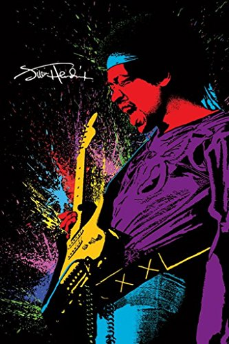 Pyramid America Jimi Hendrix Playing Guitar Paint Music Poster 24X36 Inch
